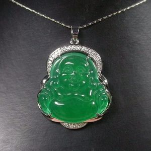 Green JADE Pendant happy wealth luck Buddha God
